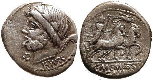 Ancient Coins - 87 BC / aVF/aVF Memmia 8 Roman Republic Denarius / Saturn and Harpa