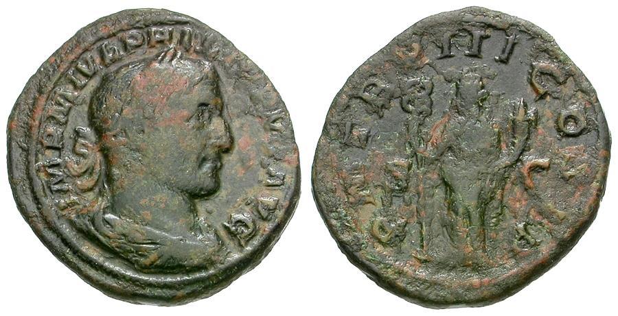 Ancient Coins - Philip I (AD 244-249) Æ Sestertius / Felicitas