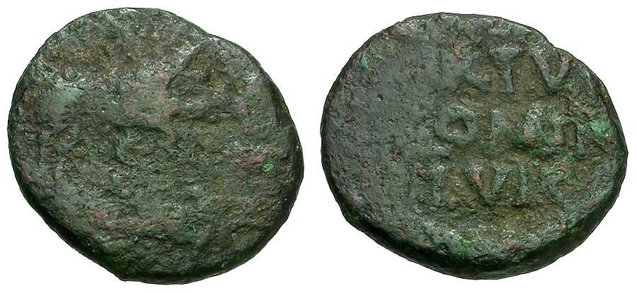 Ancient Coins - Lucania.  Paestum Æ Semis / Boar