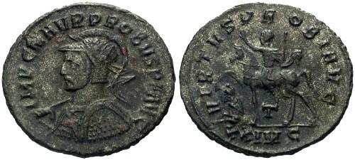 Ancient Coins - VF/VF Probus Silvered AE Antoninianus / Probus on Horseback