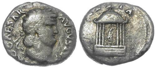 Ancient Coins - gF/gF Nero Rare AR Denarius / Temple - Vesta