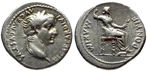 Ancient Coins - VF/VF Tiberius Denarius / Tribute Penny of the Bible