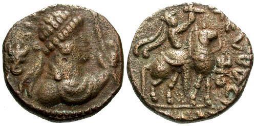 Ancient Coins - VF/VF Kushans Soter Megas AE Tetradrachm of Taxila mint