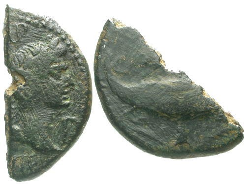 Ancient Coins - aVF/gF Augustus and Agrippa Colonial AE26 Half Cut for Change / Crocodile