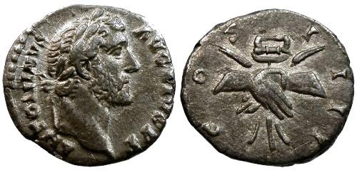Ancient Coins - VF/aVF Antoninus Pius AR Denarius / Clasped hands