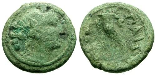 Ancient Coins - aF/aF Lucania Paestum AE Triens / Dionysus and Cornucopia