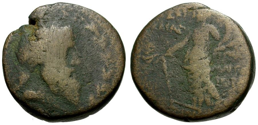 Ancient Coins - Phoenicia.  Akko-Ptolemais Æ22 / Zeus and Tyche