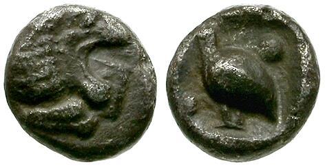 Ancient Coins - Caria. Mylasa AR Tetartemorion / Lion & Bird