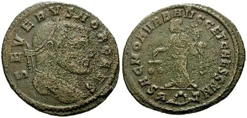 Ancient Coins - F/F Severus I as Caesar AE Follis / Moneta