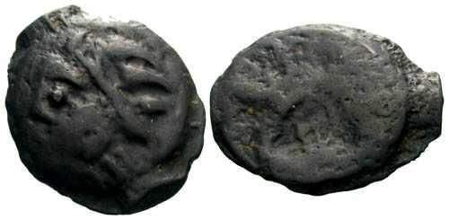 Ancient Coins - aVF/VG Leuci tribe Potin / Wild man & Boar
