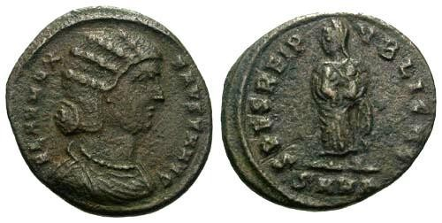 Ancient Coins - F+/F+ Fausta AE3 / Spes holding Children