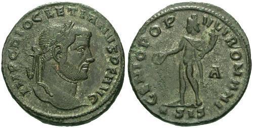 Ancient Coins - aVF/aVF Diocletian Large Follis / Genius