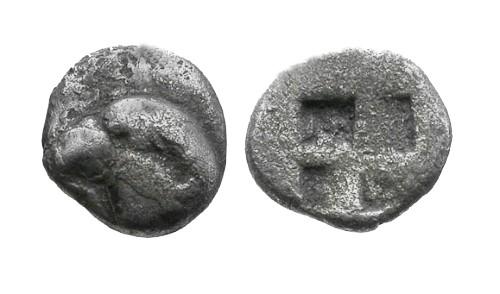 Ancient Coins - aVF/aVF Aeolis Kyme AR Hemiobol / Eagle