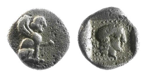 Ancient Coins - VF/VF Lycia Dynasts Uvug AR Trihemiobol / Sphinx