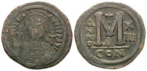 Ancient Coins - F/aVF Justinian I Follis 40mm