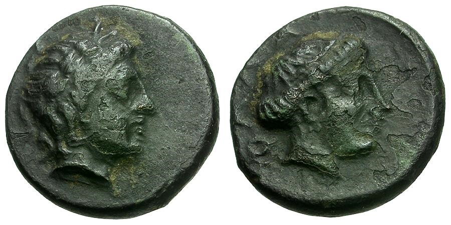 Ancient Coins - Thessaly.  Phalanna Æ15 / Nymph