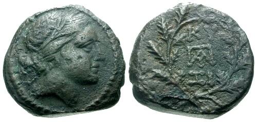Ancient Coins - VF/aVF Mysia Cyzicus AE17 / Kore Soteira / Wreath