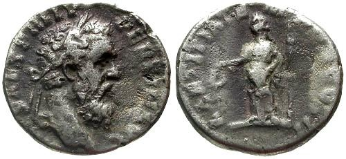 Ancient Coins - F+/F Pertinax Denarius / Laetitia