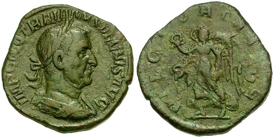 Ancient Coins - Trajan Decius (AD 249-251) Æ Sestertius / Victory