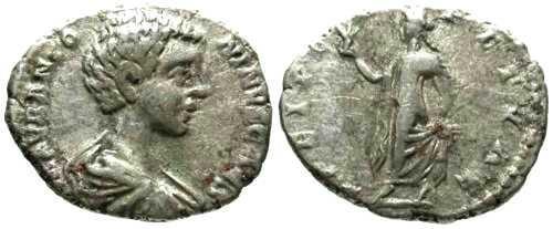Ancient Coins - F/F Caracalla Denarius as Caesar / Spes