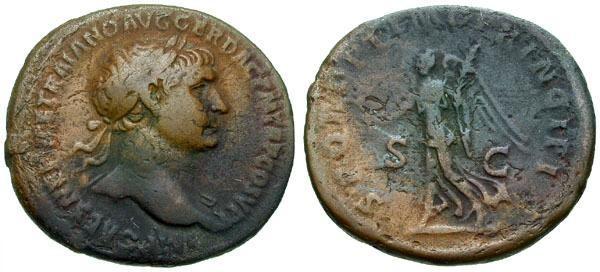 Ancient Coins - gF/gF Trajan Æ As / Victory