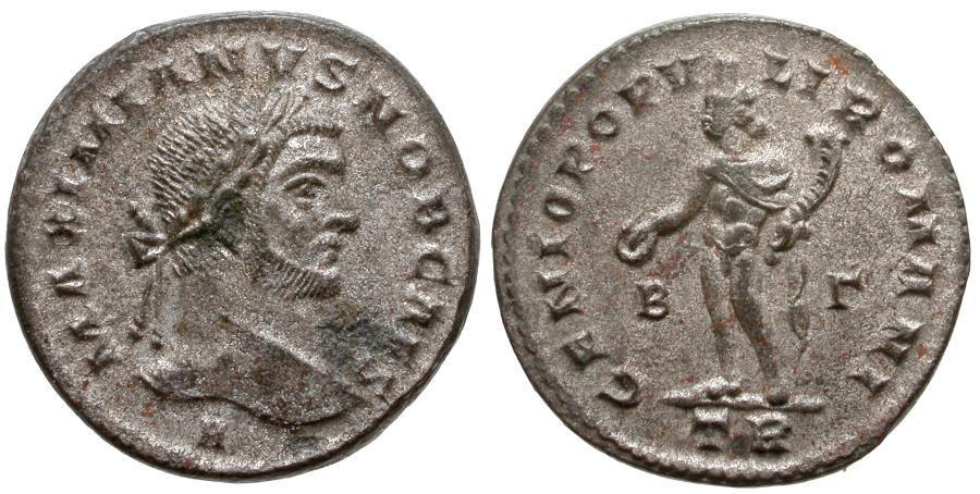 Ancient Coins - Galerius, as Caesar (AD 293-305) Silvered Æ Follis / Genius