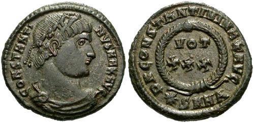 Ancient Coins - aEF Constantine I AE3 / Votive / R2