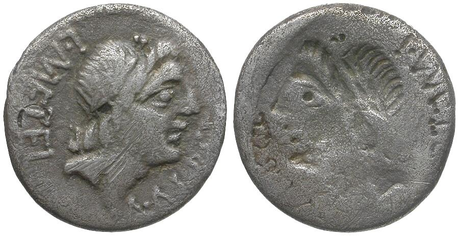 Ancient Coins - 96 BC - Roman Republic. C. Malleolus, A. Albinus Sp.f., and L. Caecilius Metellus AR Denarius / Brockage
