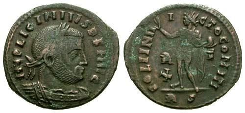 Ancient Coins - aVF/aVF Licinius Follis / Sol