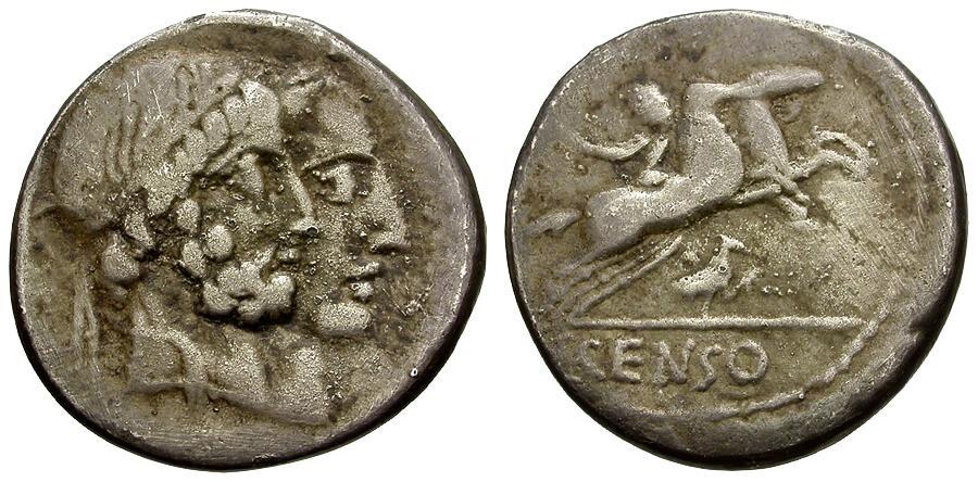 Ancient Coins - 88 BC - Roman Republic.  C. Marcius Censorinus AR Denarius / Jugate Heads / Desultor on Horseback