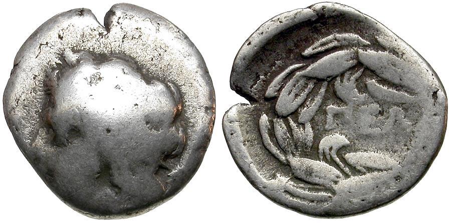 Ancient Coins - Achaia. Pellene AR Triobol / Apollo