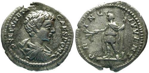 Ancient Coins - aVF/gF Geta Denarius / Geta