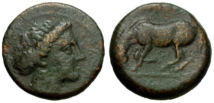 Ancient Coins - Thessaly.  Larissa Æ16 / Horse