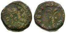 Ancient Coins - Vespasian. Judaea Capta AE Quadrans / Palm Tree and Vexillum