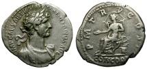 Ancient Coins - Hadrian AR Denarius / Concordia Seated