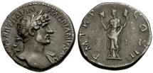Ancient Coins - Hadrian AR Denarius / Aeternitas Holding Heads of Sol and Luna