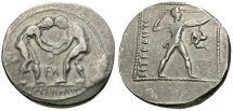 Ancient Coins - Pamphylia.  Aspendos AR Stater / Wrestlers and Slinger