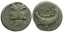 114-113 BC - Roman Republic. C Fonteius AR Denarius / Janiform & Galley