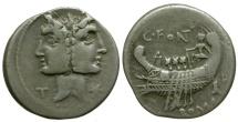 Ancient Coins - 114-113 BC - Roman Republic. C Fonteius AR Denarius / Janiform & Galley
