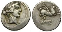 90 BC - Roman Republic. Q. Titius AR Denarius / Bacchus and Pegasus