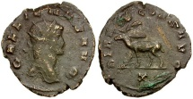 Gallienus. Sole Reign Æ Antoninianus / Stag