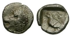 Ancient Coins - Caria.  Mylasa AR Tetartemorion / Lion