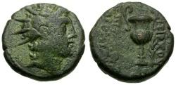 Ancient Coins - Seleukid Kings. Antiochos VI Dionysos Æ16 / Amphora