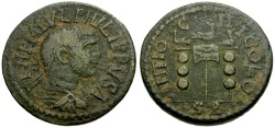 Ancient Coins - Philip I, Pisidia Antioch Æ26 / Vexillum and Standards