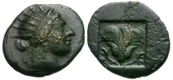 Ancient Coins - Caria. Rhodos Æ12 / Rose