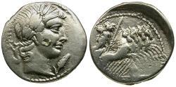 Ancient Coins - 90 BC - Roman Republic. C. Vibius C.f. Pansa AR Denarius / Minerva in Quadriga