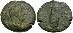 Ancient Coins - Hadrian. Egypt. Alexandria Æ Diobol / Canopus of Osiris