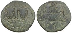 Ancient Coins - *Sear 1586* Byzantine Empire. Leo IV with Constantine VI, Constantine V, and Leo III Æ Follis