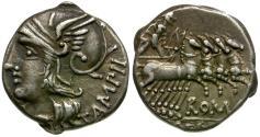 Ancient Coins - 137 BC - Roman Republic. M. Baebius Tampilus AR Denarius / Apollo in Quadriga