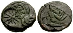 Ancient Coins - VF/VF Cimmerian Bosporus, Pantikapaion Æ21 / Pan and Lion with countermarks